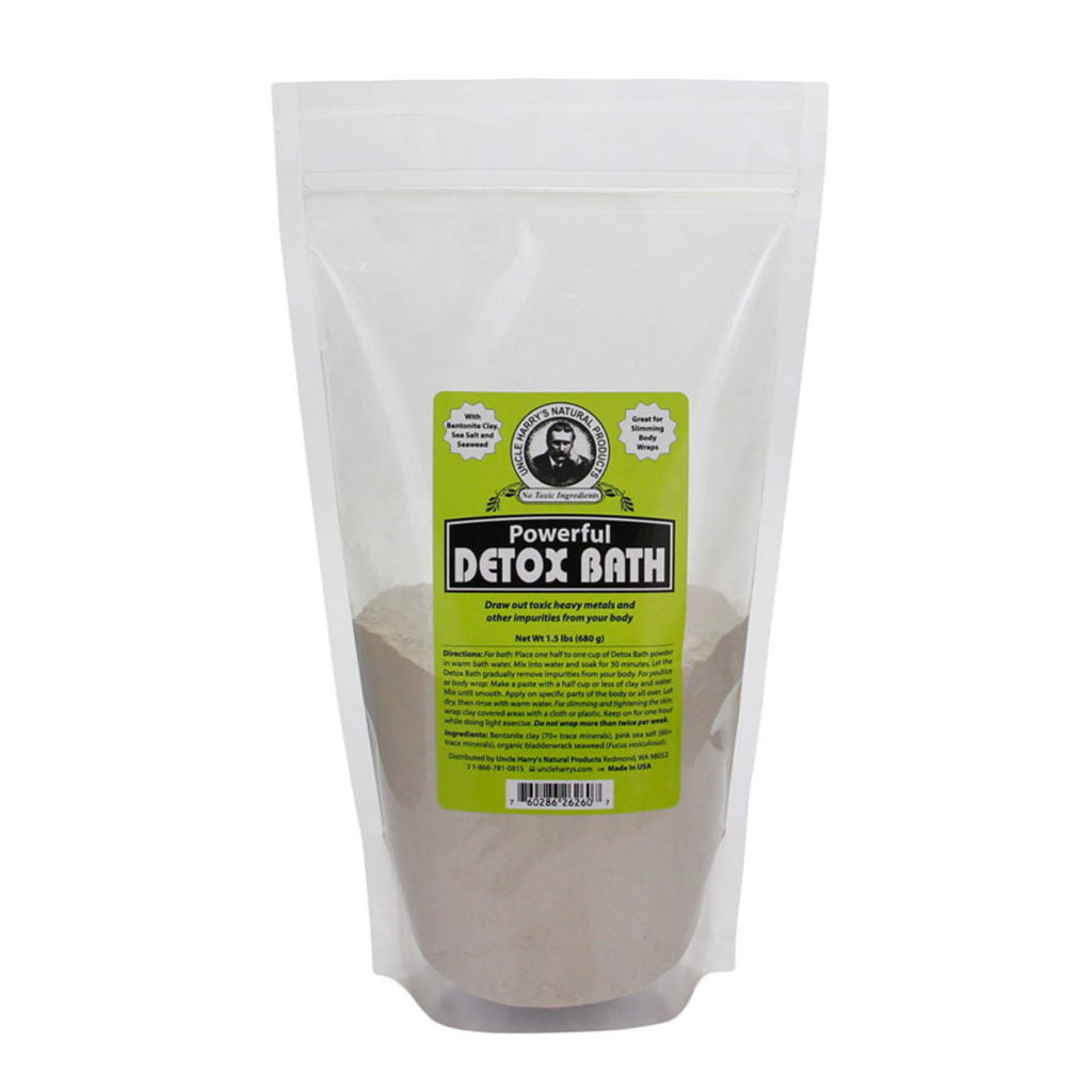 A gray resealable bag of Uncle Harry's Bath Salts with bright green logo