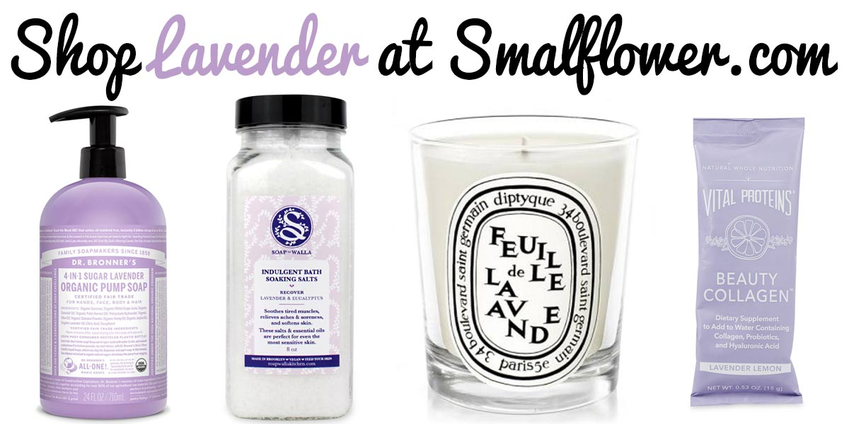 "Text saying ""Shop Lavender at Smallflower.com"" and four lavender-scented personal care items"