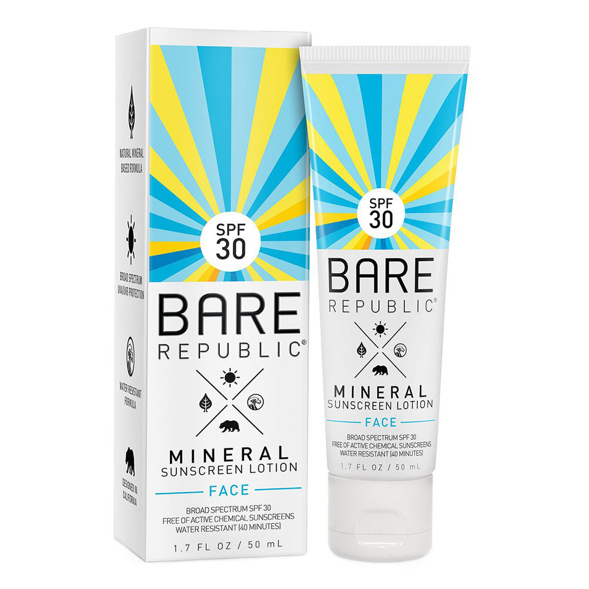 A white, blue, and yellow tub of Bare Republic Mineral Face Sunscreen