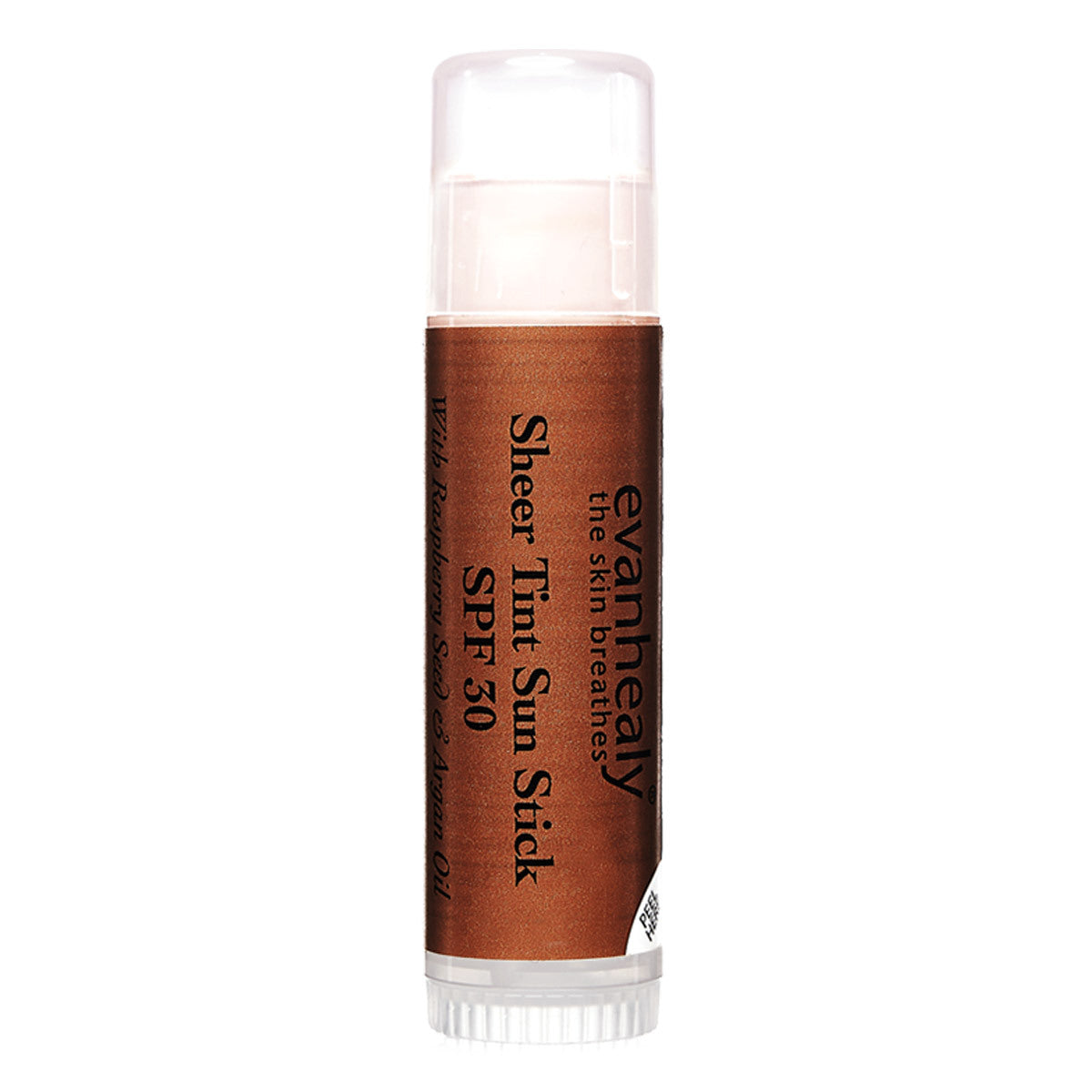 A brown tube of evanhealy sunscreen stick