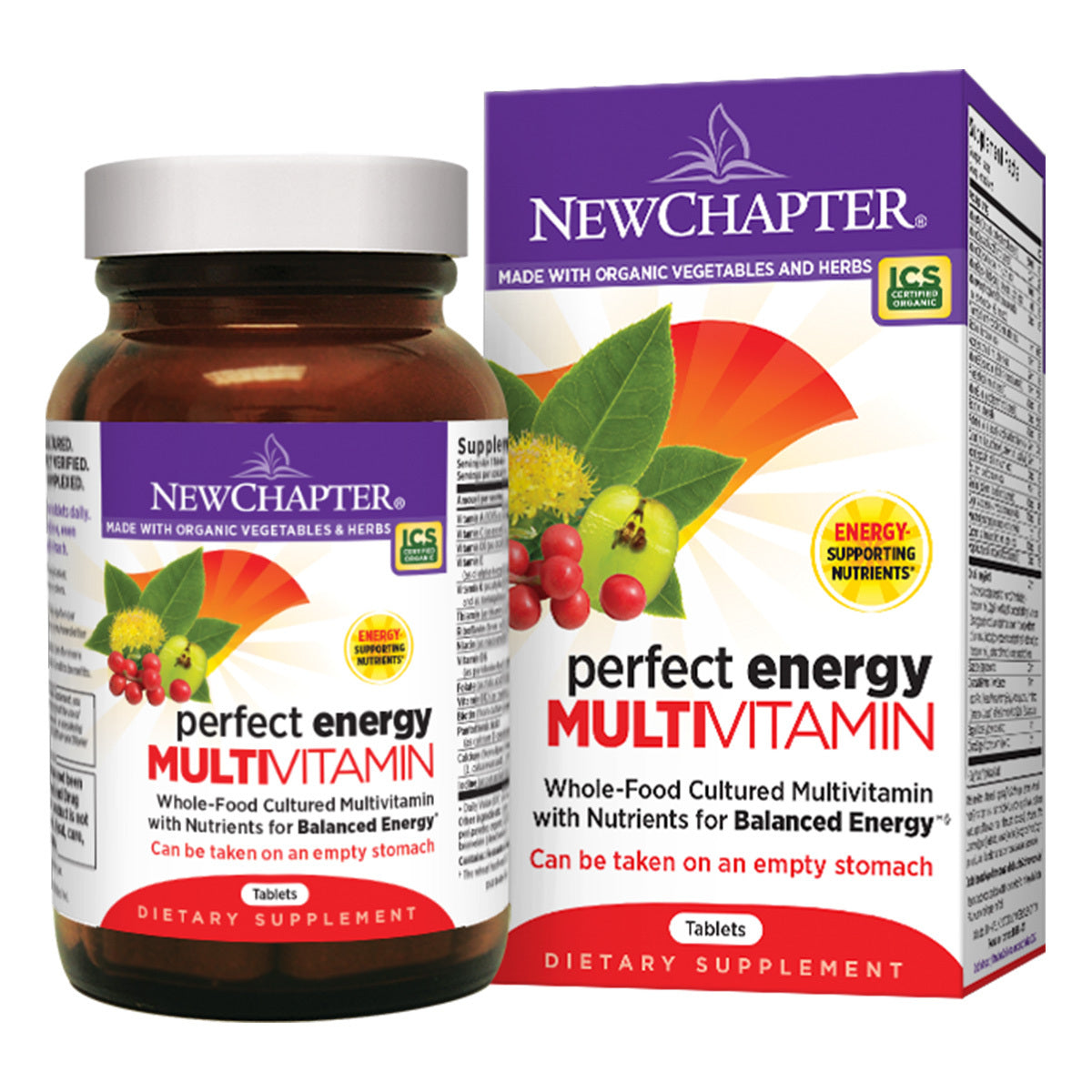 A bottle of New Chapter Perfect Energy Multivitamin tablets