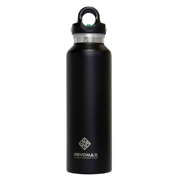 A black vacuum sealed water bottle from RevoMax