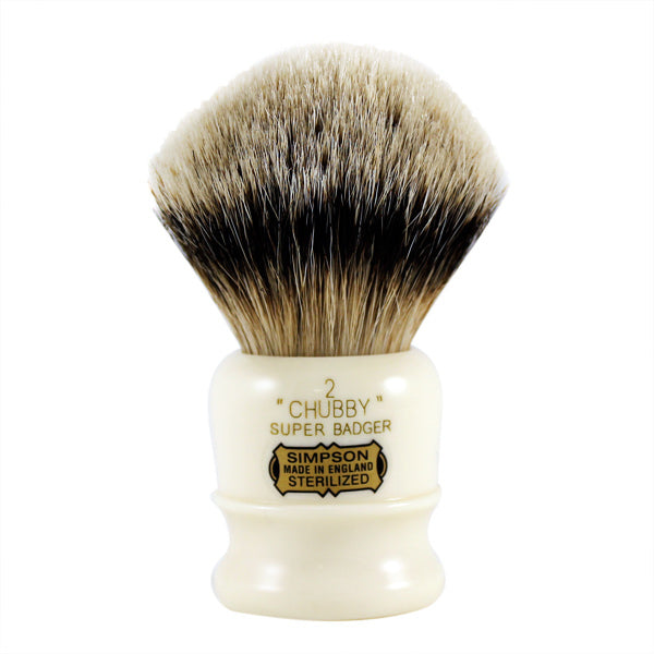 A white Super Badger chubby shave brush by Simpsons