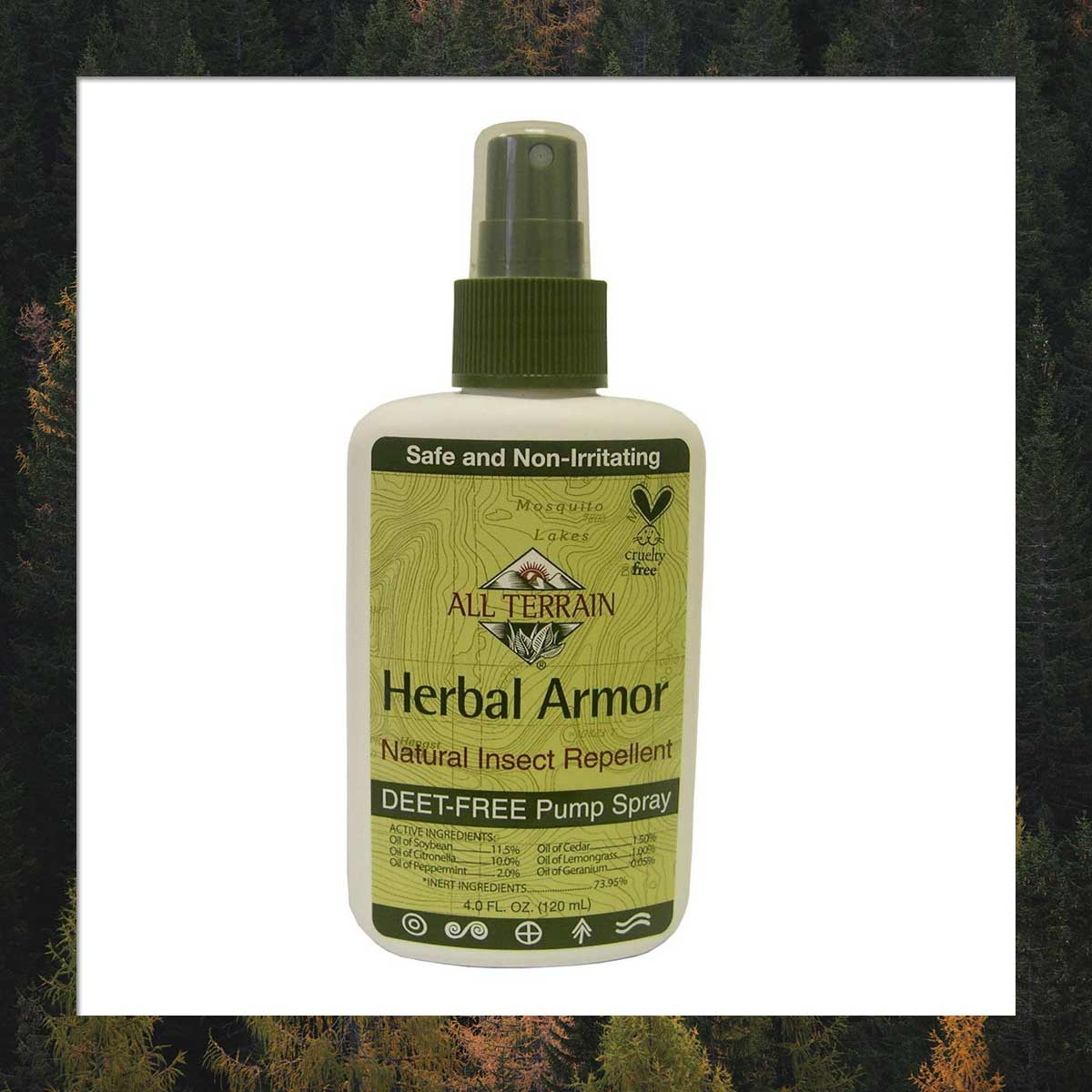 A spray bottle of All Terrain Herbal Armor Natural Insect Repellent bug spray