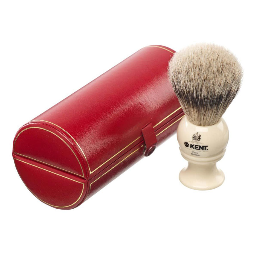Primary image of Cream Traditional Medium Pure Grey Badger Shave Brush - BK2