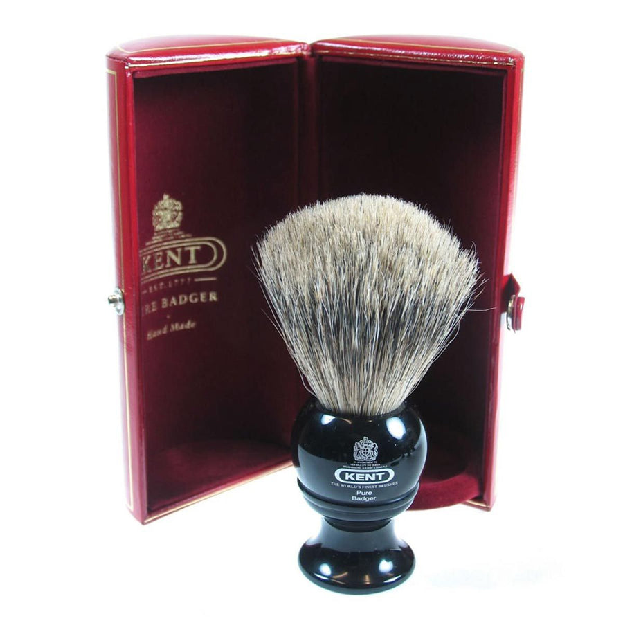 Primary image of Black Traditional Medium Pure Gray Badger Shave Brush - BLK2