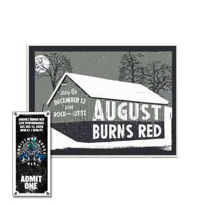 Christmas Burns Red 2020 Limited Edition Screen Printed Poster w/CBR 2020 Ticket