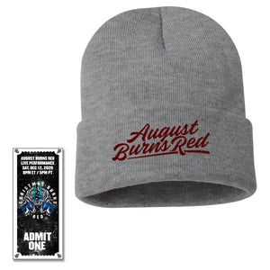 Embroidered Beanie w/Christmas Burns Red 2020 Ticket