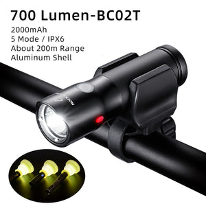 Bicycle Light waterproof Rechargeable 2000mAh LED Front Lamp Headlight Aluminum Flashlight for bike