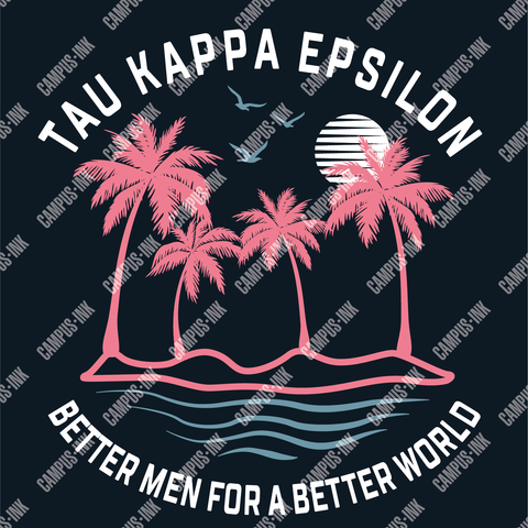 Tau Kappa Epsilon Palms & Waves Neon Design