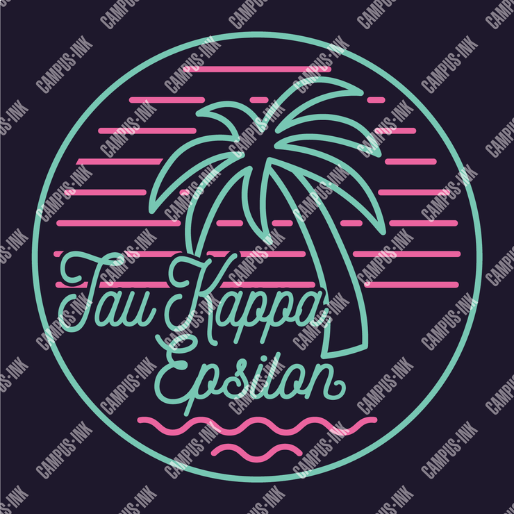 Tau Kappa Epsilon Palms & Waves Neon Design v2
