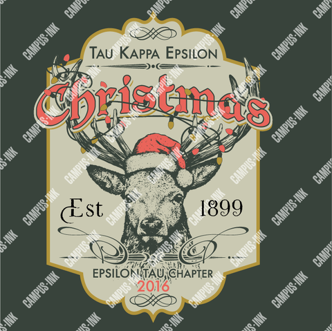 Tau Kappa Epsilon Christmas Deer Design