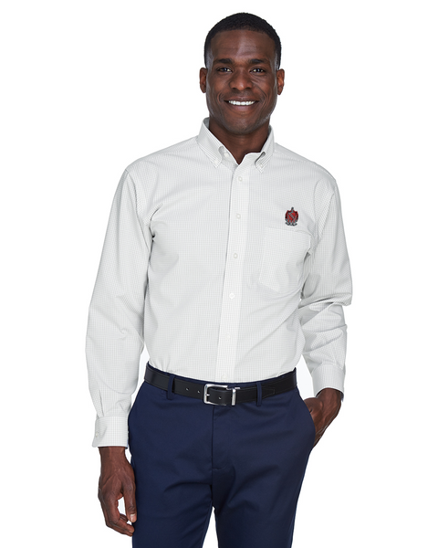 TKE Coat of Arms Silver Gingham Check Button Down