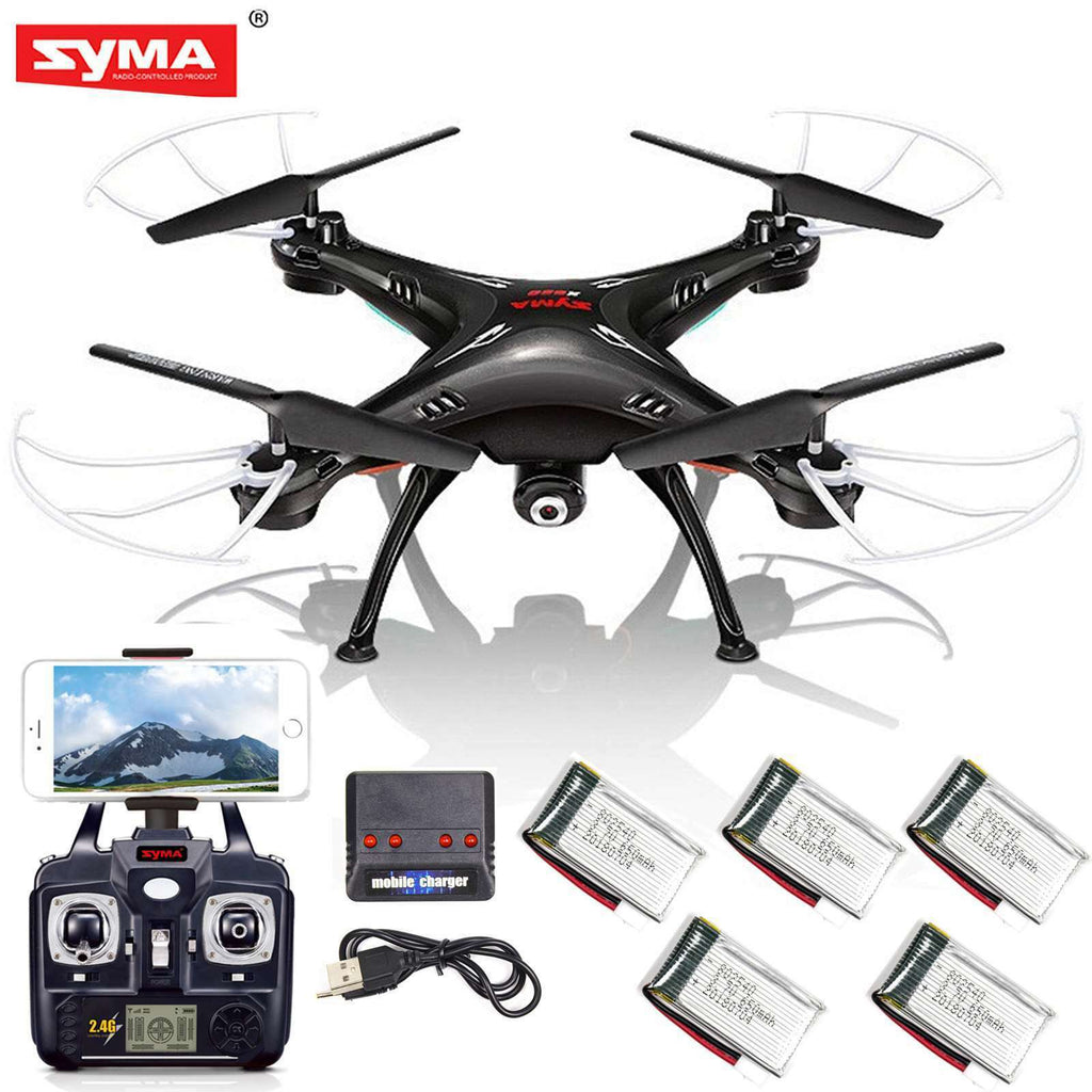 Syma X5SW-V3 Wifi FPV 2.4G 4CH RC Quadcopter Drone HD Camera RTF Black+Batteries