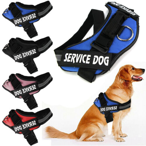 No Pull Dog Harness Soft Vest Padded Heavy Duty New K9 Service Patch / Pet Leash