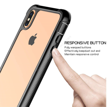 For iPhone XS Max XR X Shockproof Hybrid+Screen Protector Clear Hard Case Cover