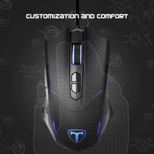 PICTEK Gaming Wired Mouse 7200 DPI Programmable Ergonomic 7 Buttons Game Mice
