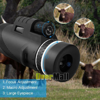 New Day & Night Vision 40X60 HD Optical Monocular Hunting Camping Hiking Telescope