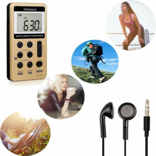 Pocket FM/AM Rechargeable Radio Receiver Stereo Digital Earphone for Sport Gifts