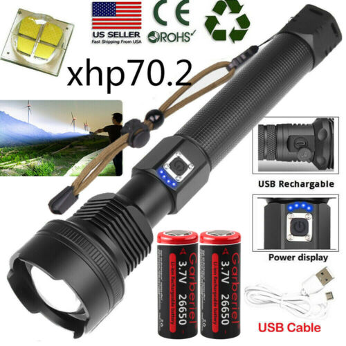 990000LM XHP90 XHP70.2 XHP50 26650 18650 USB Rechargeable Flashlight Zoom Torch