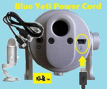 Blue Yeti Microphones USB Recording Mic Pro Studio Power Cord Cable Adapter