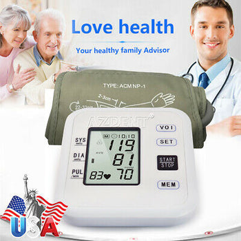 Automatic Upper Arm Blood Pressure Monitor Digital BP Cuff machine Pulse Meter
