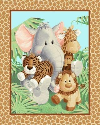 "36"" Fabric Traditions Panel - Jungle Babies Patty Reed Nursery Baby Wallhanging"
