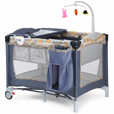 Foldable Baby Crib Playpen Playard Pack Travel Infant Bassinet Bed Music Gray