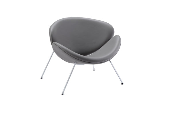 "28"" Grey Leatherette and Metal Accent Chair"