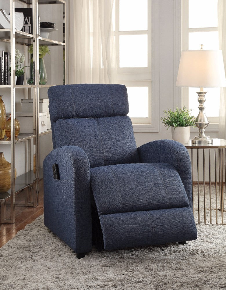 Concha Recliner with Power Lift, Blue Fabric