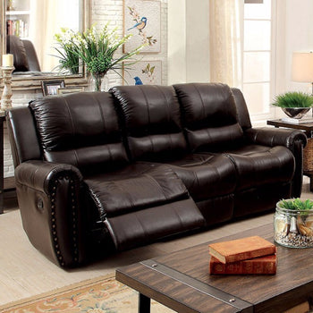 Sturdy Leatherette Recliner Sofa, Brown