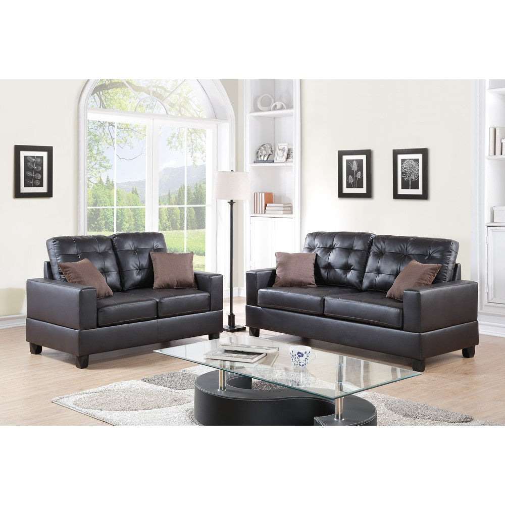 2 Pieces Sofa Set With Pillows In Dark Brown