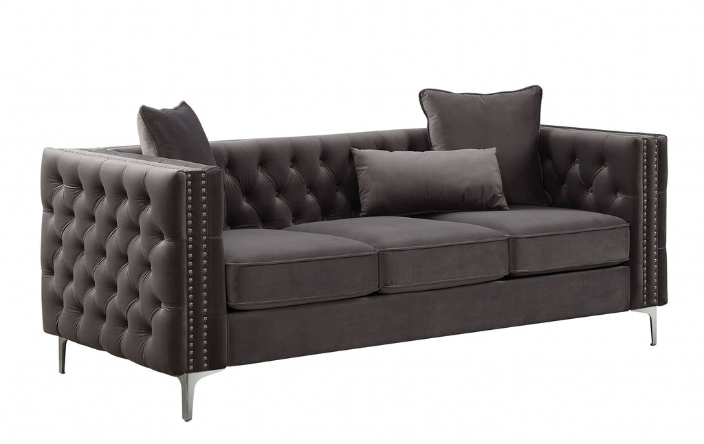 "86"" X 34"" X 30"" Dark Gray Velvet Sofa"