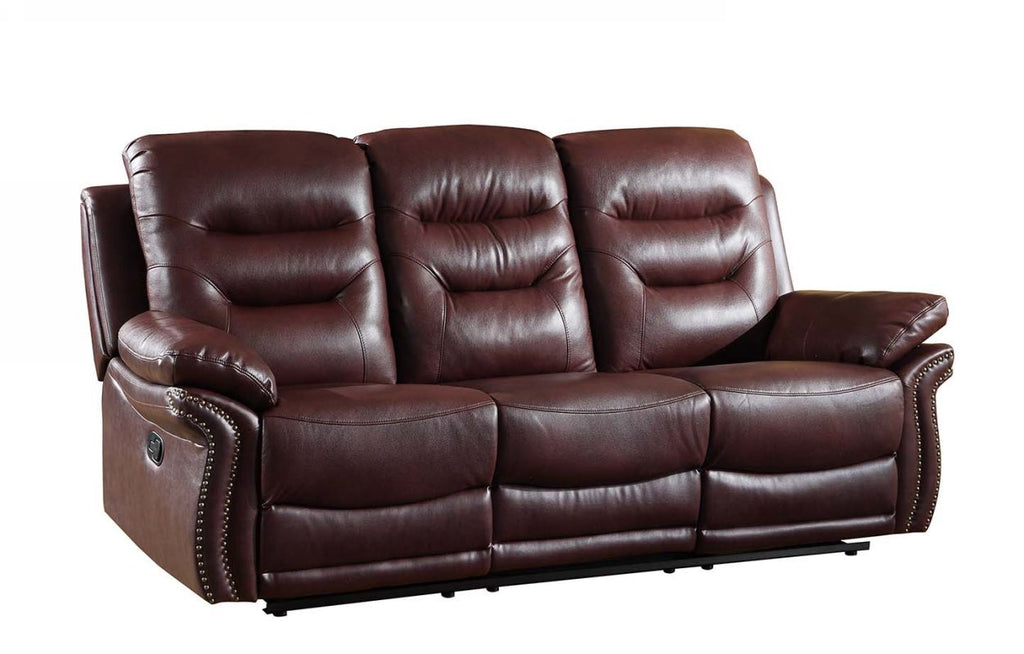 "44"" Comfortable Burgundy Leather Sofa"