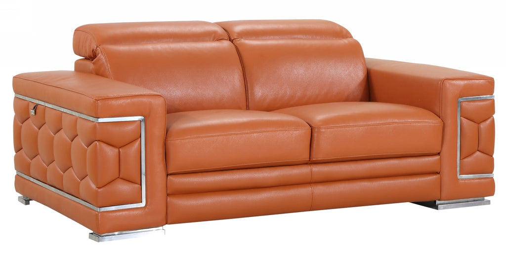 "71"" Sturdy Camel Leather Loveseat"