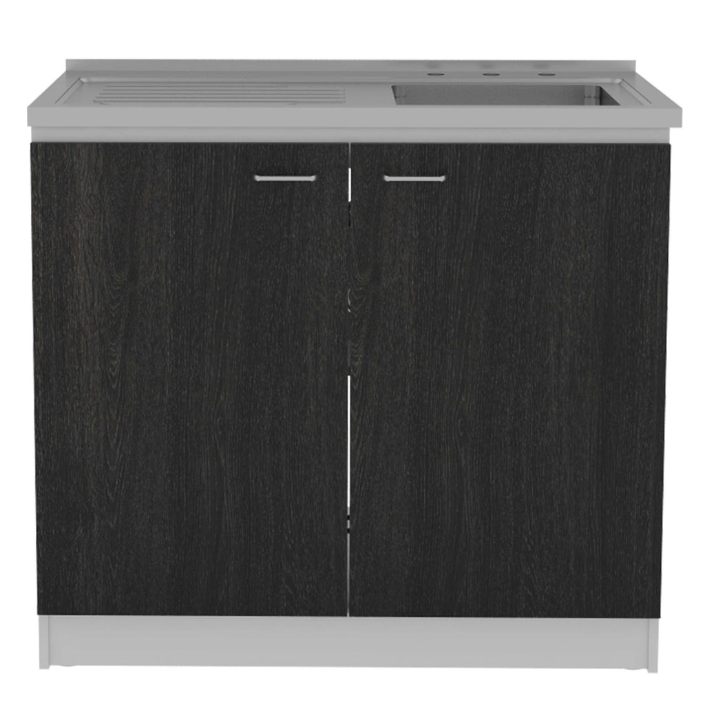 "39.3"" X 19.7"" X 35.4"" Walnut Particle Board Utility Sink with Cabinet"