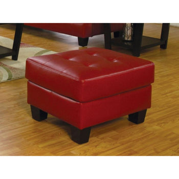 Leather Ottoman With Tufted Seat, Red