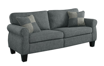 Transitional Linen-Like Fabric Movable Sofa With Pillows, Dark Gray