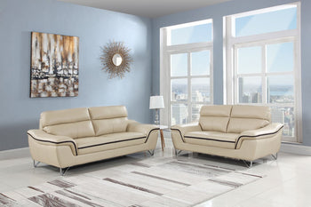 69'' X 36''  X 40'' Modern Beige Leather Sofa And Loveseat