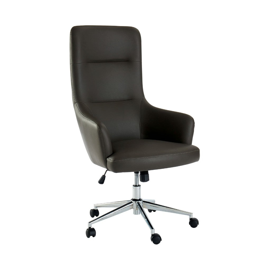 Leatherette Office Chair with Low Arm Design and Metal Legs with Casters, Gray