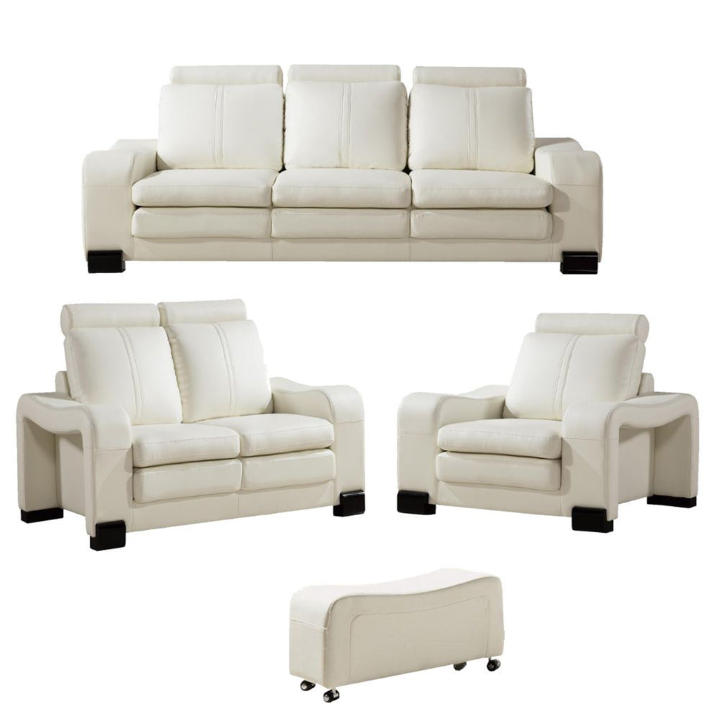 Faux Leather Upholstered Wooden Living Room Sofa and Ottoman, Set of Six , White