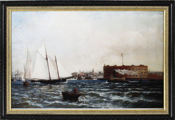 Wooden Framed Digital Wall Art of Castle William Governors Island New York, Multicolor