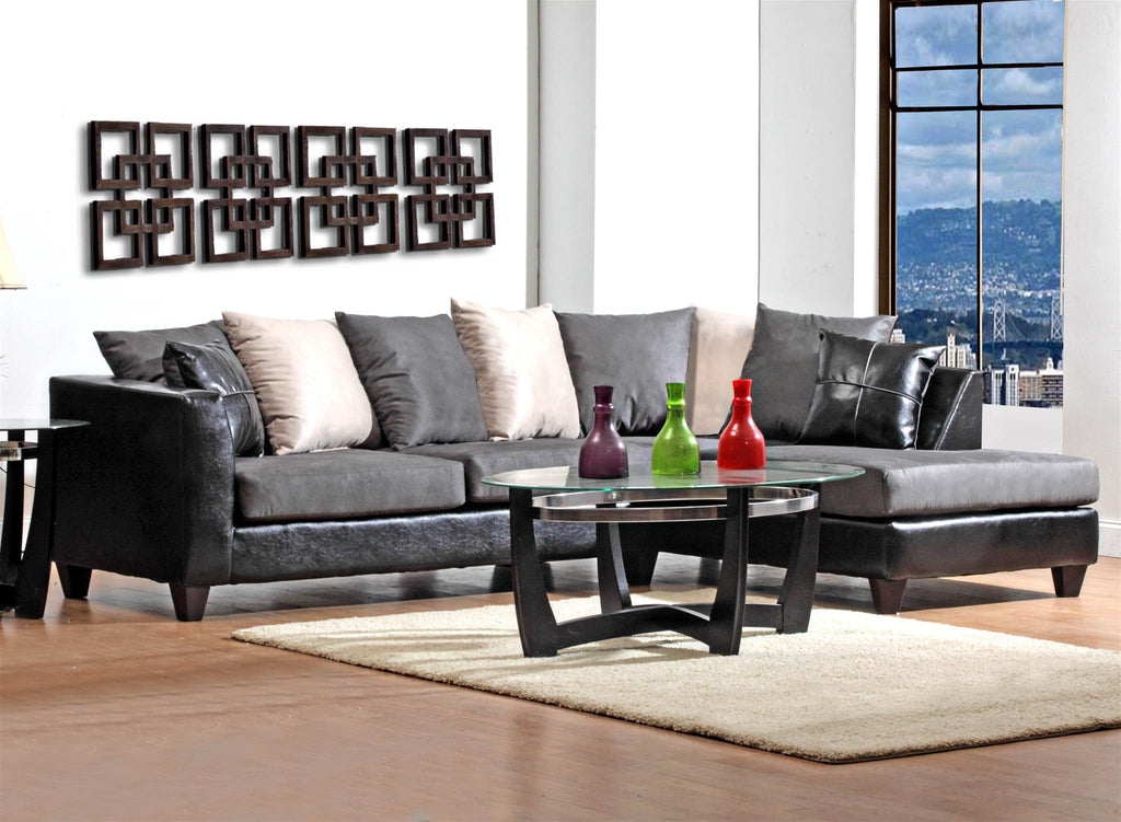 "111"" X 71"" X 37"" Jefferson Black Sierra Graphite 100% PU, 100% polyester Microfiber Sectional"