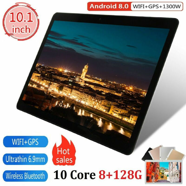 "10"" inch Tablet PC 8+128GB Android 8.0 Dual SIM Dual Camera GPS Wi-Fi Phablet 20"