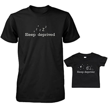 Daddy and Baby Matching T-Shirt Set - Sleep Deprived & Depriver Infant Tee