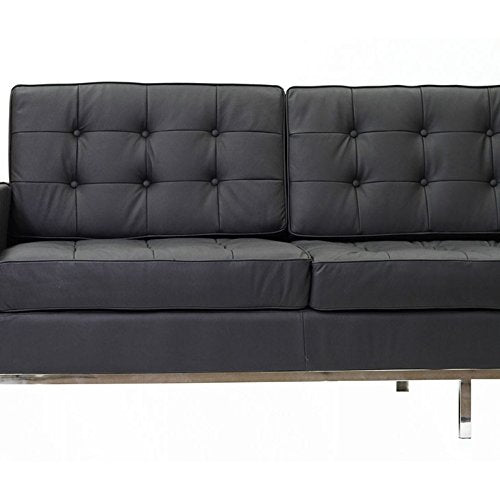 Steel Framed Leather Upholstered Three Seater Couch, Black And Silver