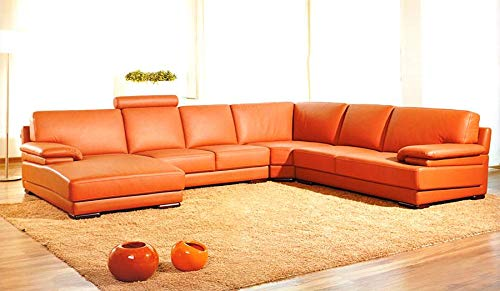 "39"" Orange Leather and Wood Sectional Sofa"