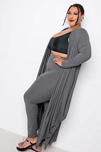 Bubbled Hem Waterfall Cardigan Charcoal Grey