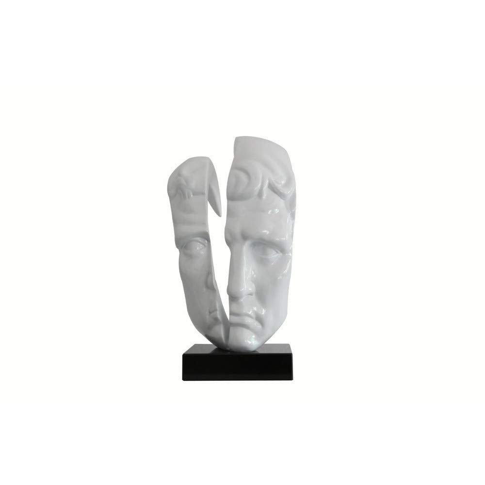 Face Sculpture Mounted On Square Black Base, Glossy White