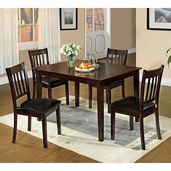Transitional 5Pc Dining Table Set, Espresso Finish